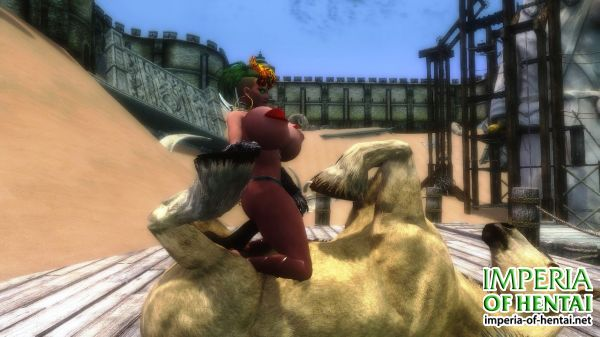 Vixene the Lipple Succubus plays with a Horse